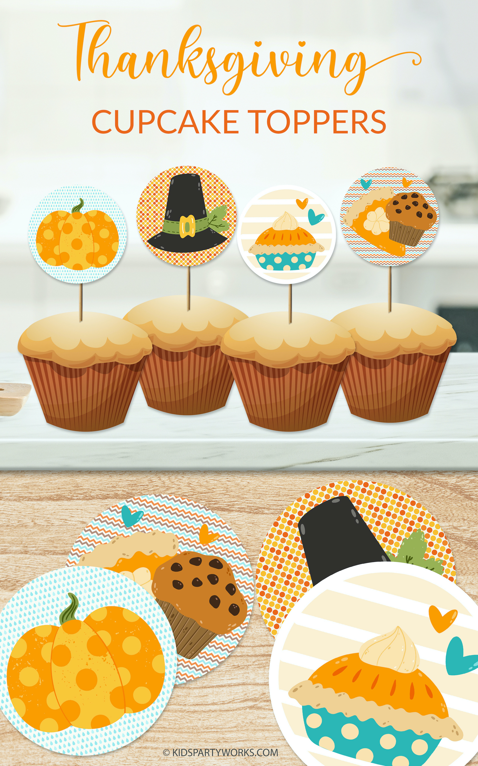 Thanksgiving Cupcake Toppers at KidsPartyWorks.Com