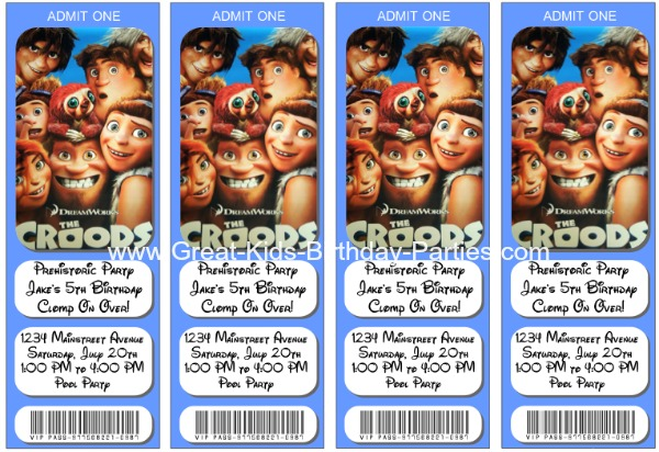 The Croods Birthday Invitations