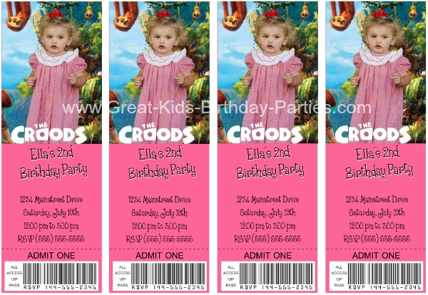 The Croods Free invitations