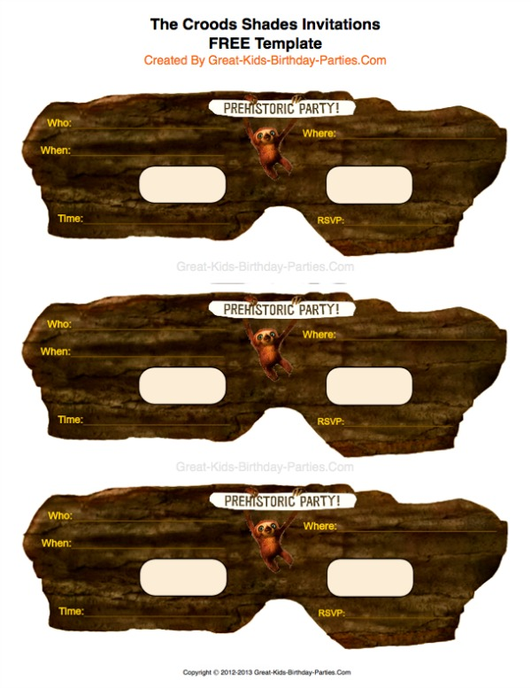 The Croods Shades Invitation -  Here's some prehistoric fun!  Croods shades invitations.  Download FREE template HERE.