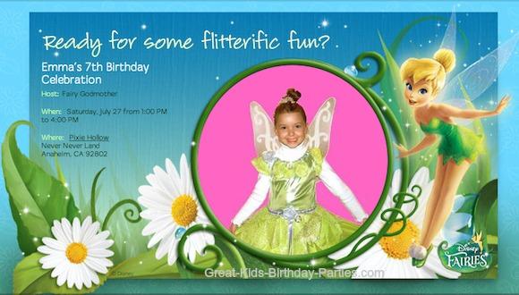 Tinker Bell Evite Invitation