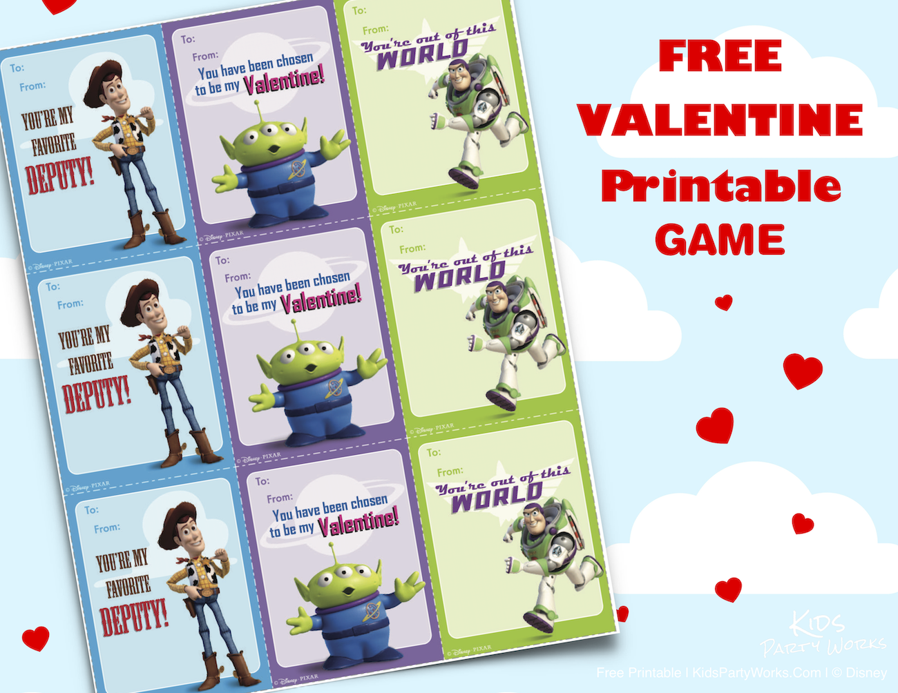 Toy Story Printable Valentines Cards. KidsPartyWorks.Com