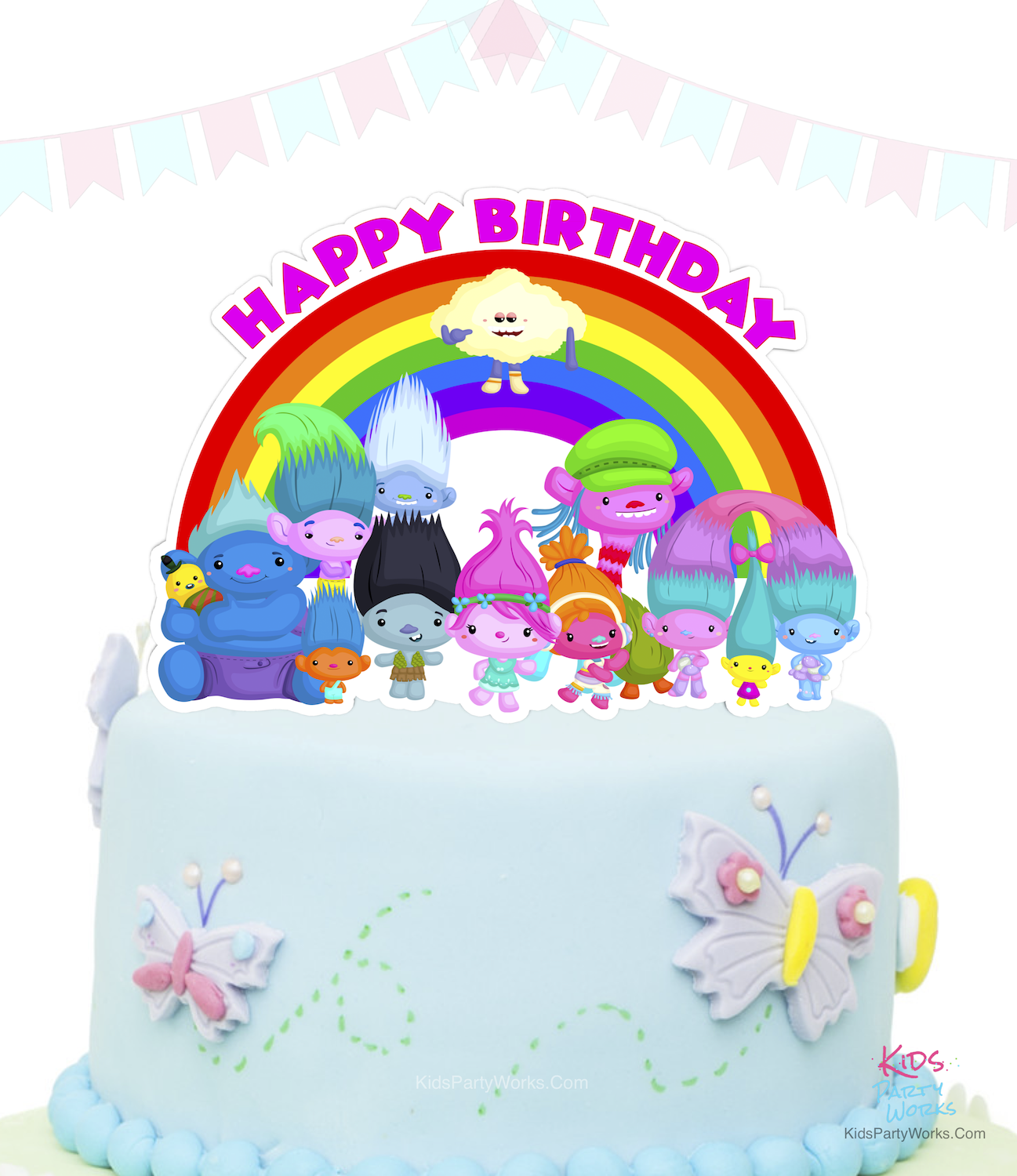 Free Trolls Cake Topper by KidsPartyWorks.Com