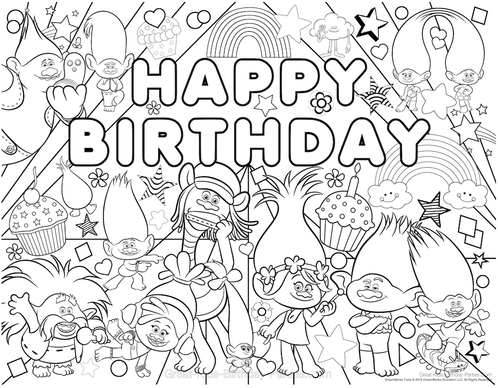 Come Color With Poppy Branch And The Rest Of Trolls Lots Fun Designs Characters Download Coloring Page Here
