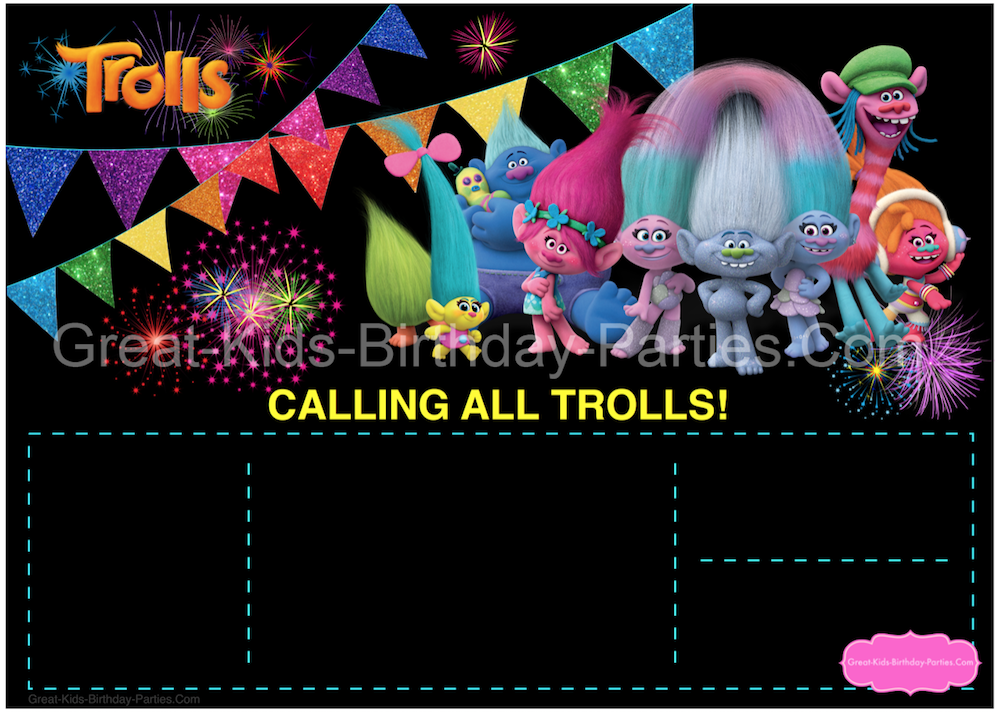 Start Your Trolls Party Planning With This Festive Chalkboard Invitation Template Its Colors And Glitter Bunting Set The Stage For Fun Thats