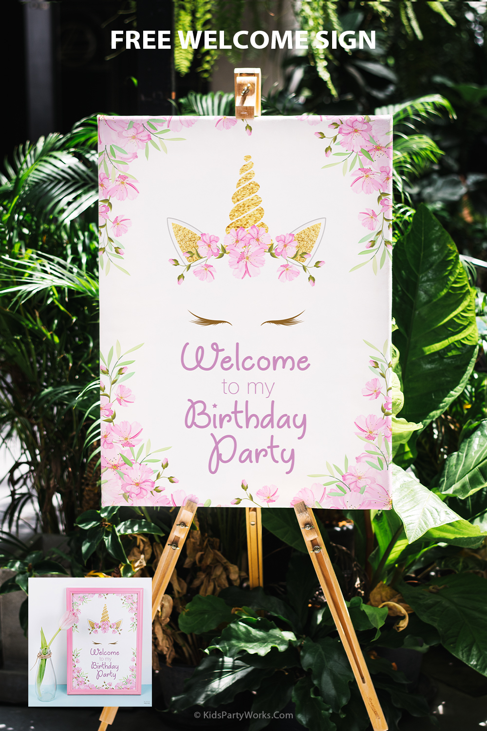 Free Unicorn Birthday Welcome Sign by KidsPartyWorks.Com