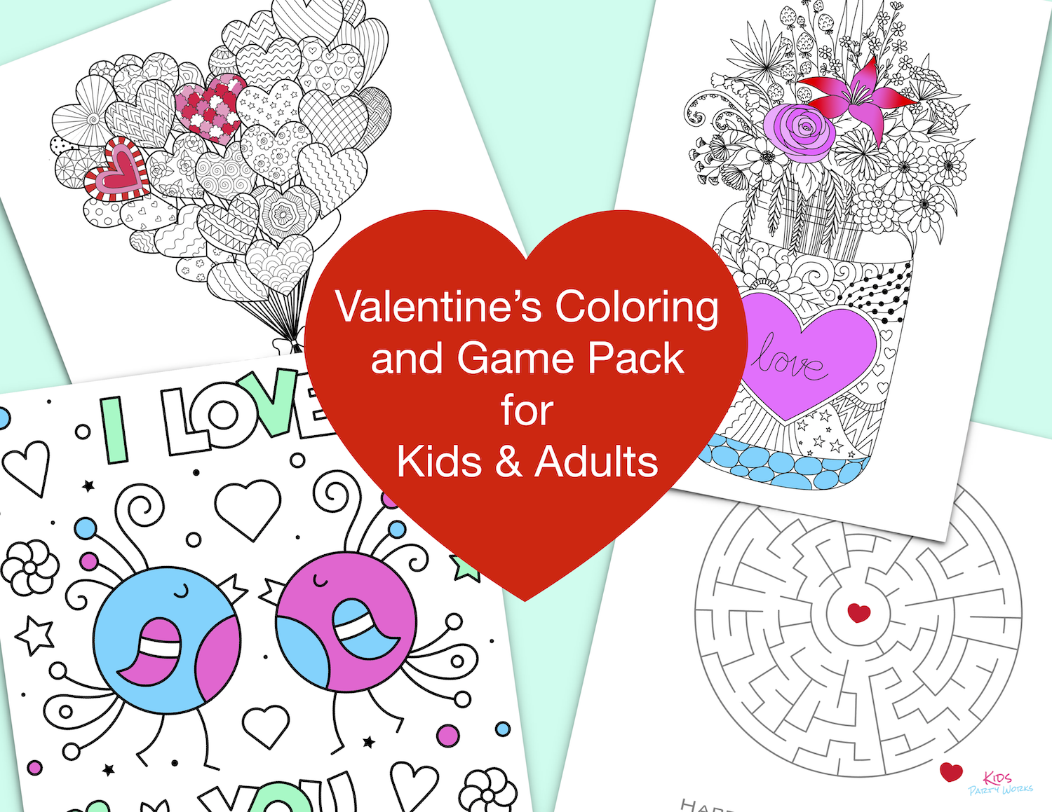Free Valentine's Day Coloring Pages by KidsPartyWorks.Com