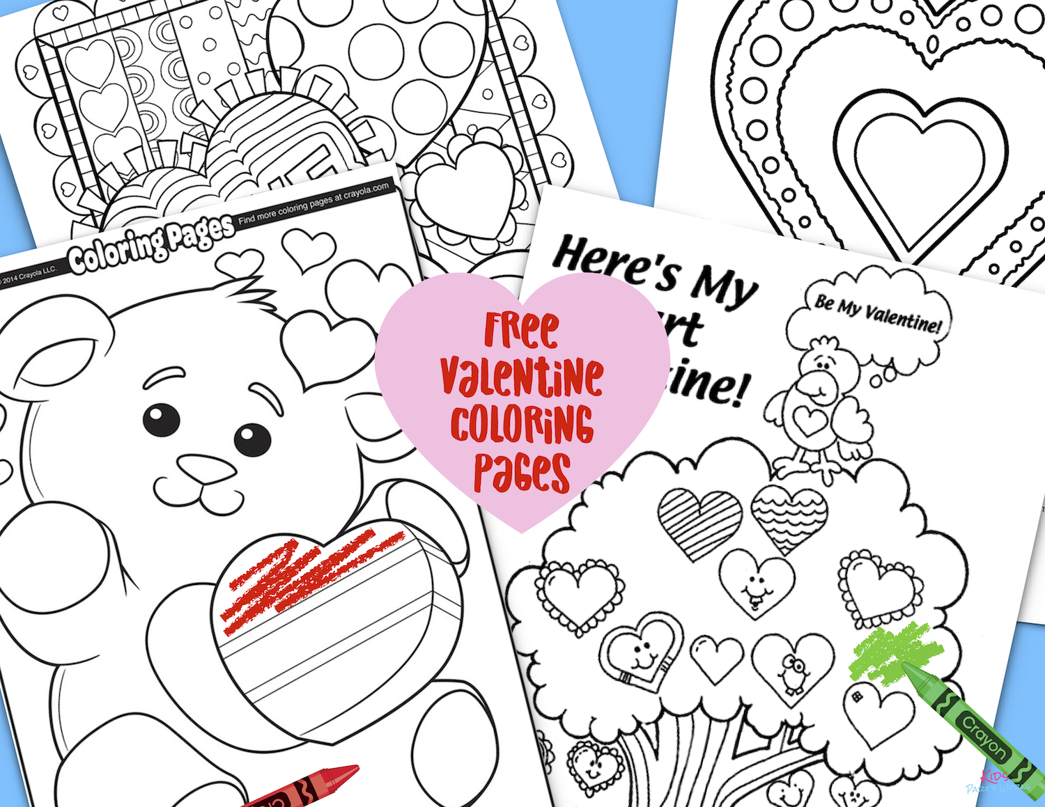 Free Valentine Coloring Pages. Grab all our free Valentine printables at KidsPartyWorks.Com