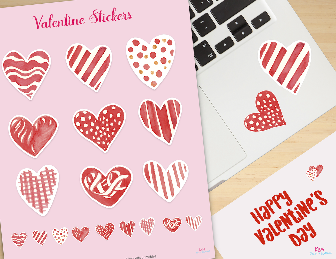 Free Valentine Stickers - Great for t-shirts, wall art and Valentine cards. Find lots of free printables at KidsPartyWorks.Com