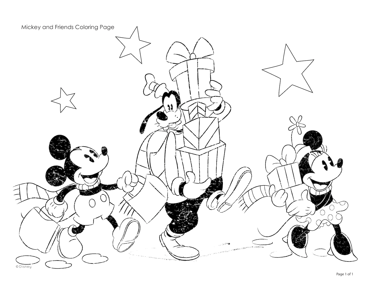 Mickey & Friends Christmas Coloring Page