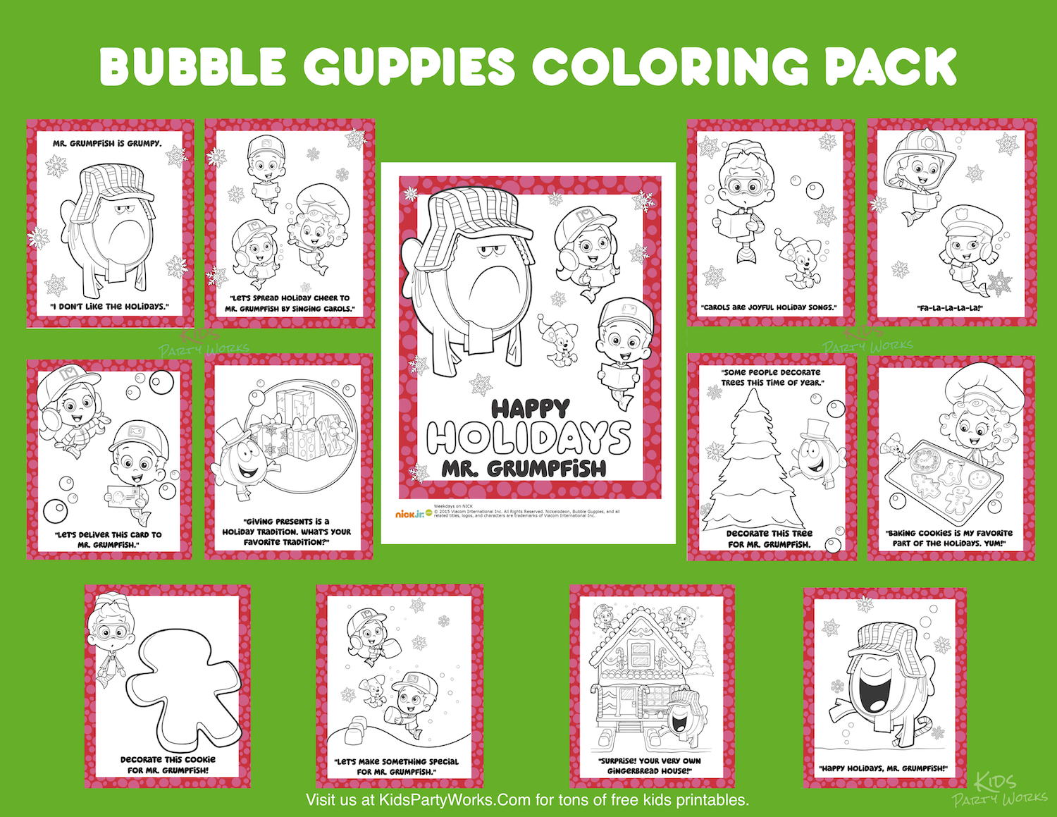 Bubble Guppies Christmas Coloring Pages