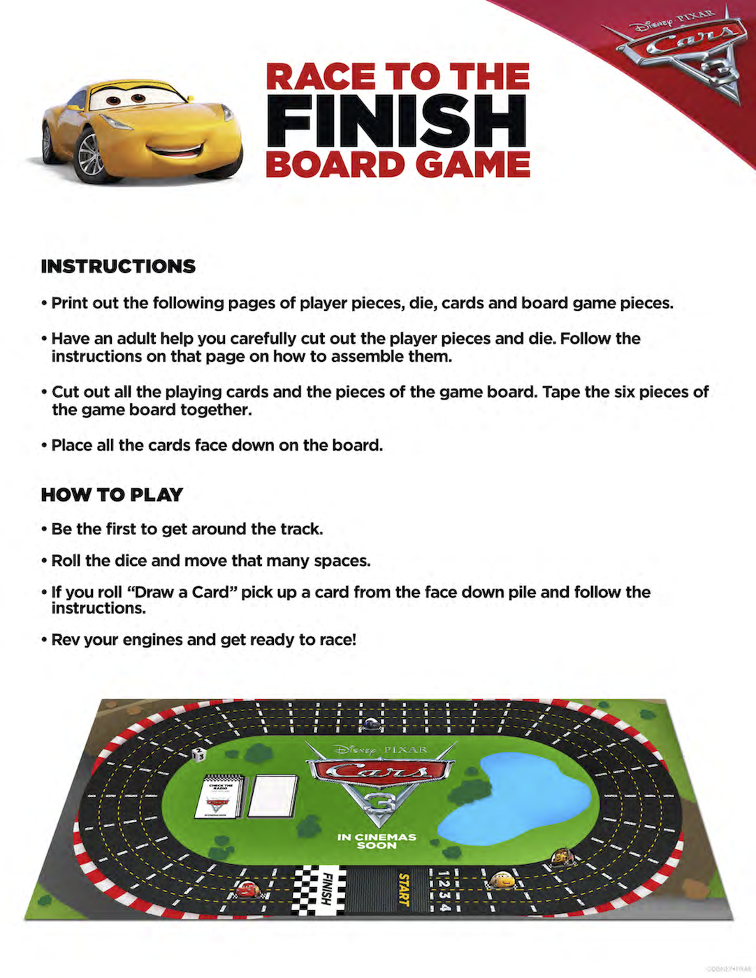 Cars 3 Race to the Finish Board Game