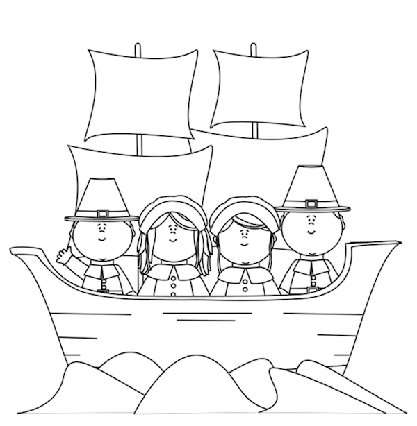 Thanksgiving pilgrims coloring page