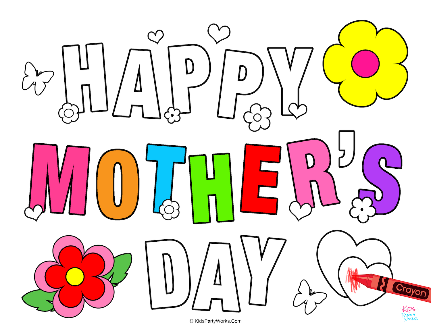 Free Printable Mothers Day Coloring Pages. KidsPartyWorks.Com
