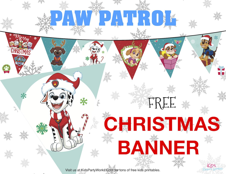 Paw Patrol Christmas Banner