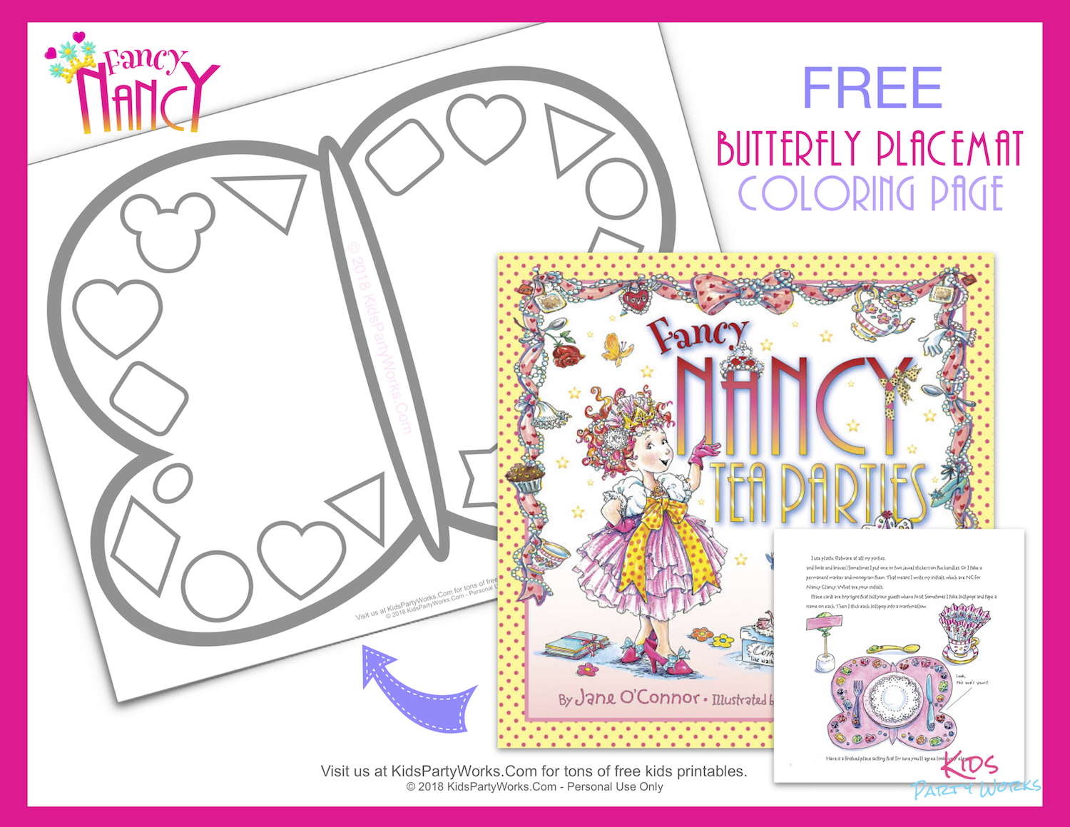 Kids will have fun coloring this Free printable Fancy Nancy Tea Parties butterfly placemat just like in the book.