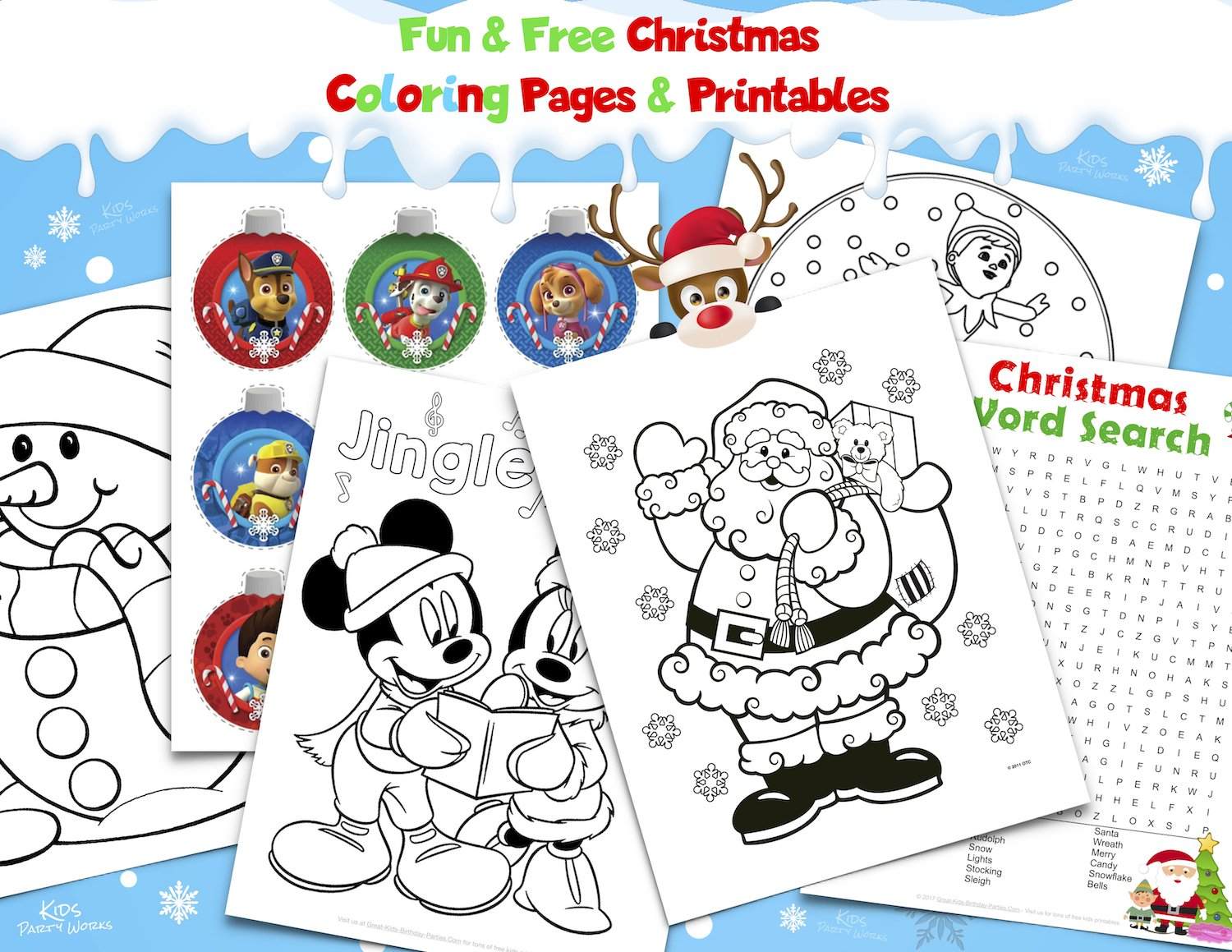 free Christmas coloring pages and printables