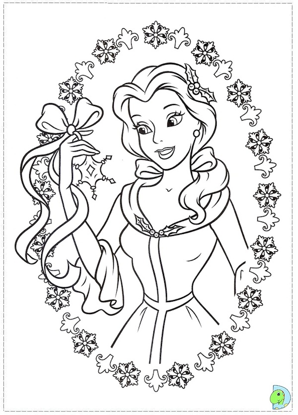 Belle Christmas coloring page