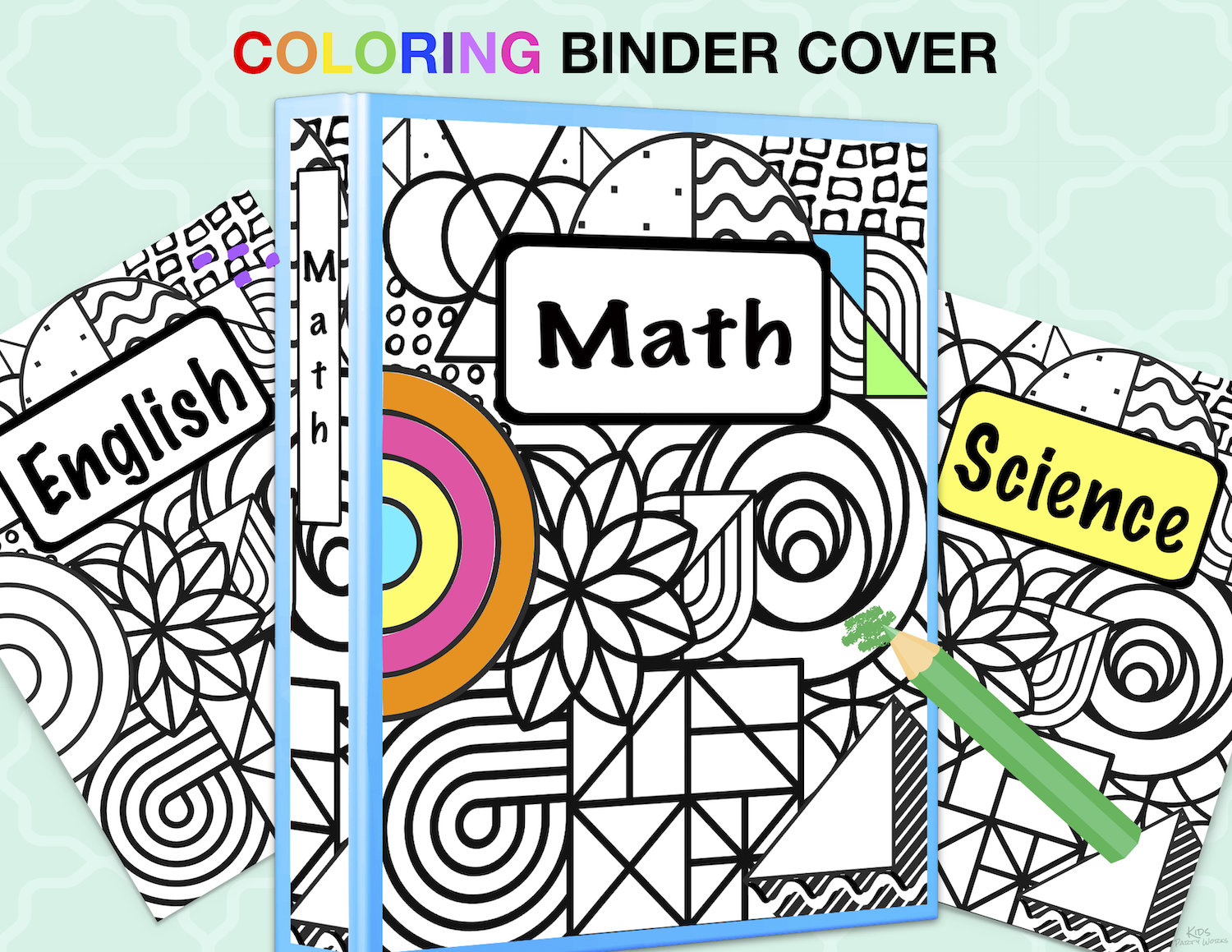 Free Kids Binder Cover for coloring. KidsPartyWorks.Com