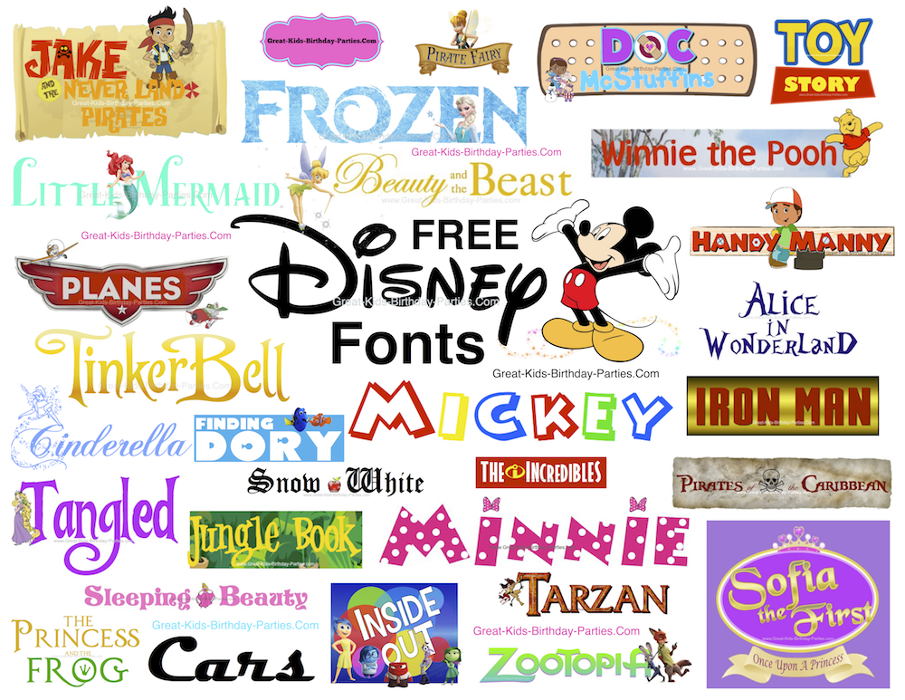 Disney Fonts including Disney font, Mickey font, Minnie font, Moana font, Frozen font, Incredibles font, Star Wars font, Avengers font, Disney Park fonts, Little Mermaid font.