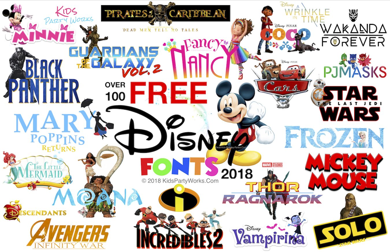 Free Disney Font for all your Disney projects. Fonts include Mickey font, Disney font, Minnie font, Fancy Nancy font, Frozen font, Moana font, Avengers, Incredibles, Little Mermaid, Doc McStuffins.