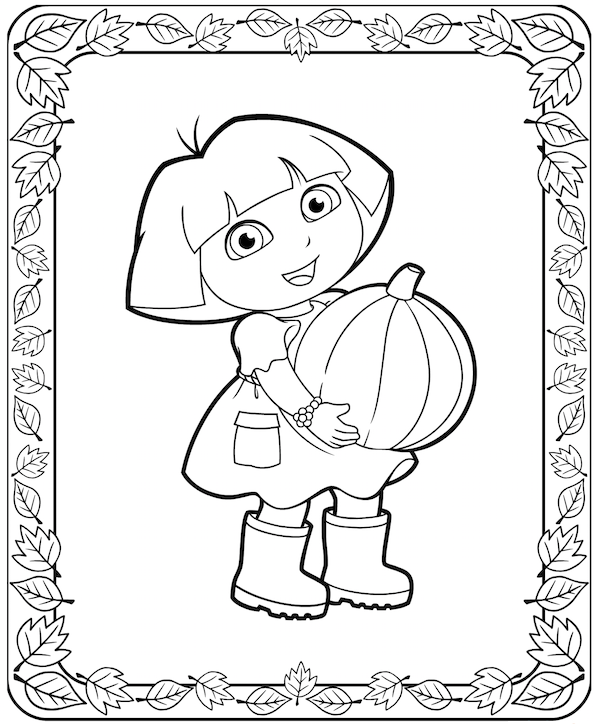 Dora Thanksgiving Coloring Pages at KidsPartyWorks.Com