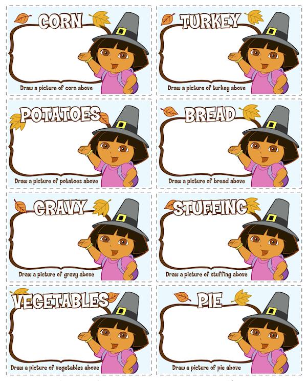 Dora Thanksgiving Printables at KidsPartyWorks.Com