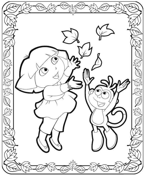 Dora and Boots Thanksgiving Coloring Pages at KidsPartyWorks.Com