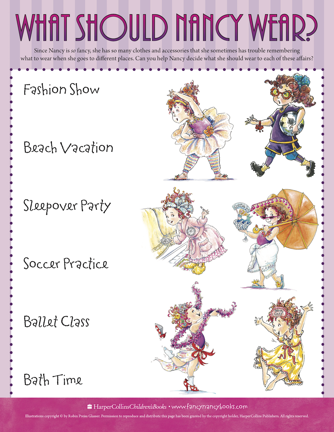 Match Fancy Nancy's outfit to the event with this fun free printable activity.