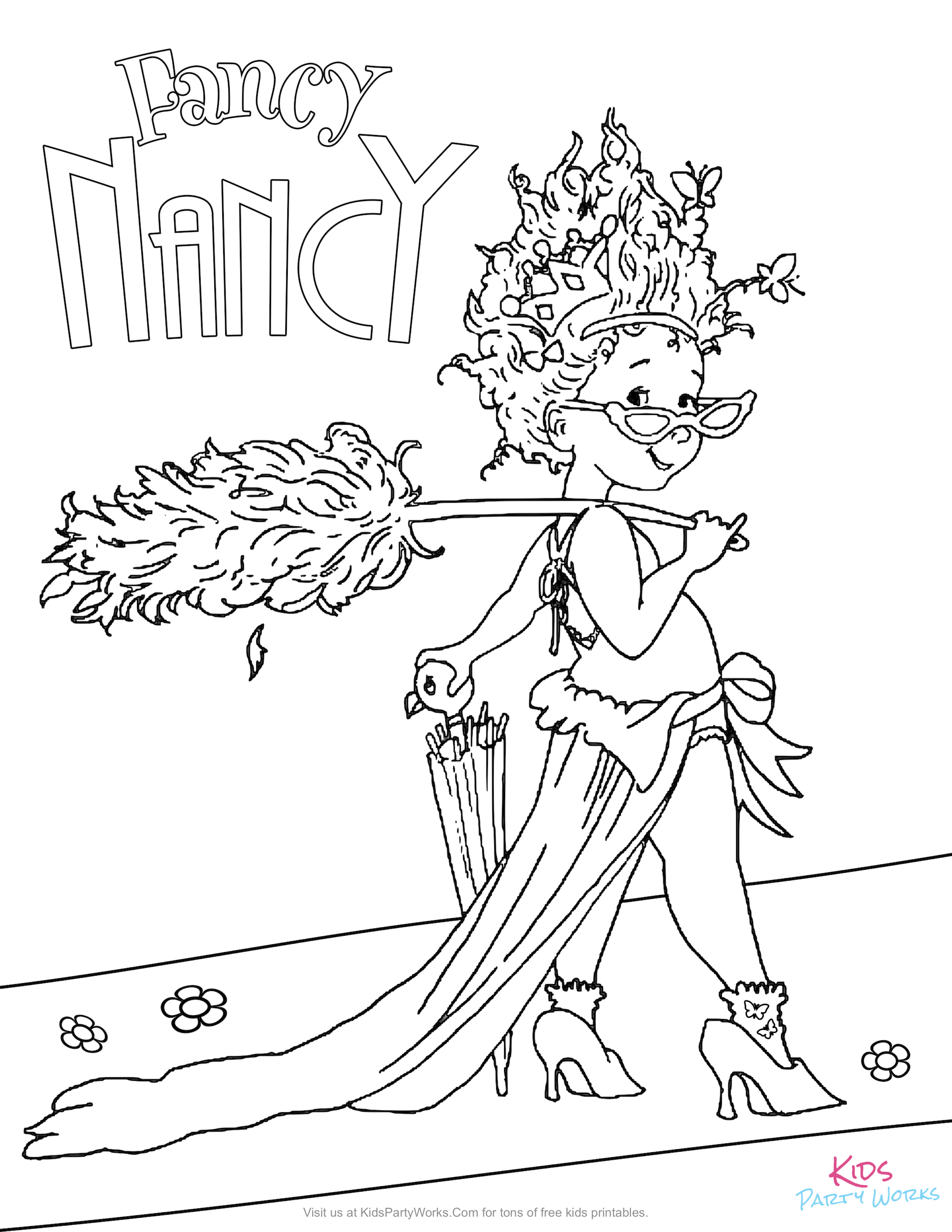 Free Fancy Nancy coloring page for kids to color from the new Disney Jr. show.