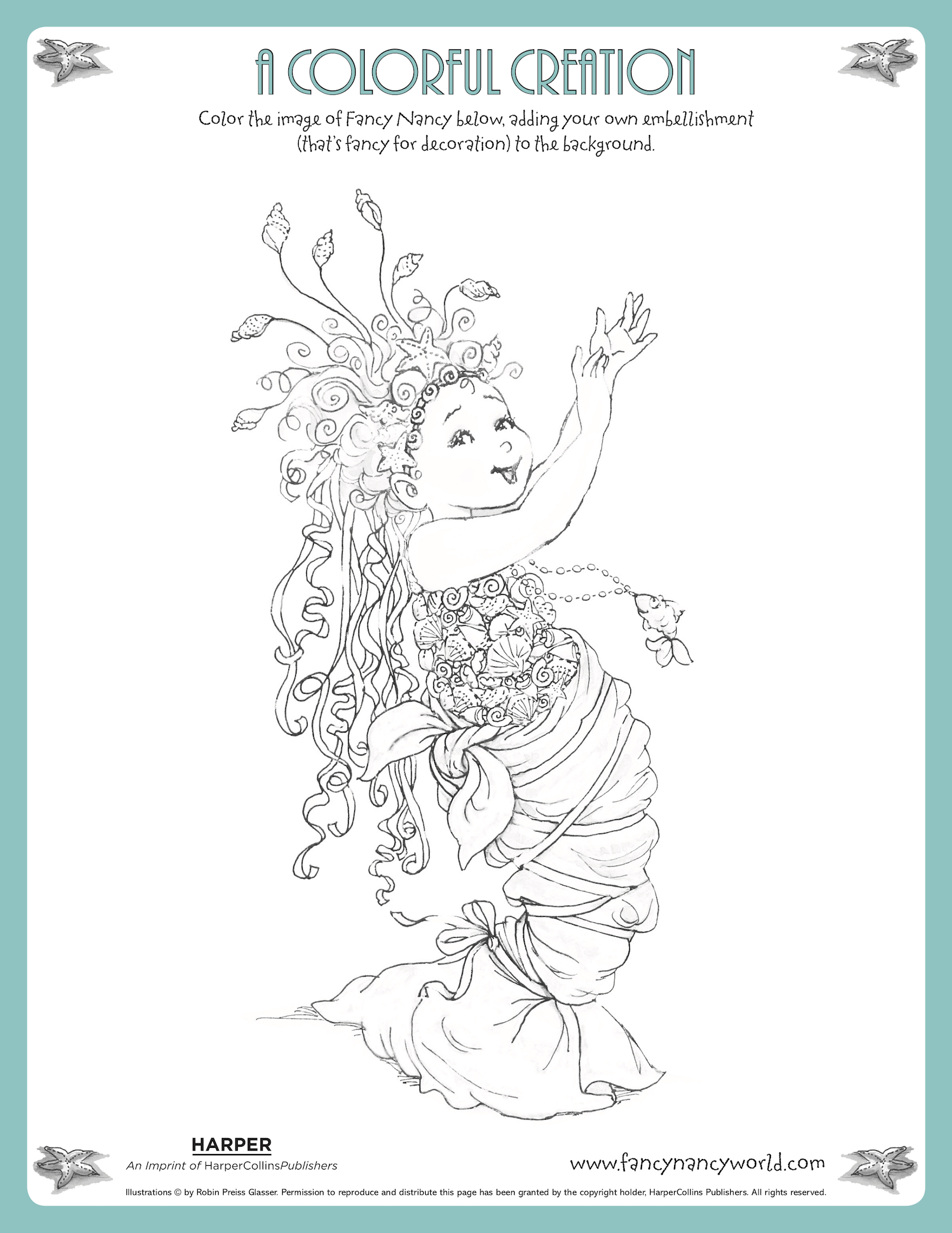 Free Fancy Nancy mermaid ballet coloring page for kids to color from the new Disney Jr. show.