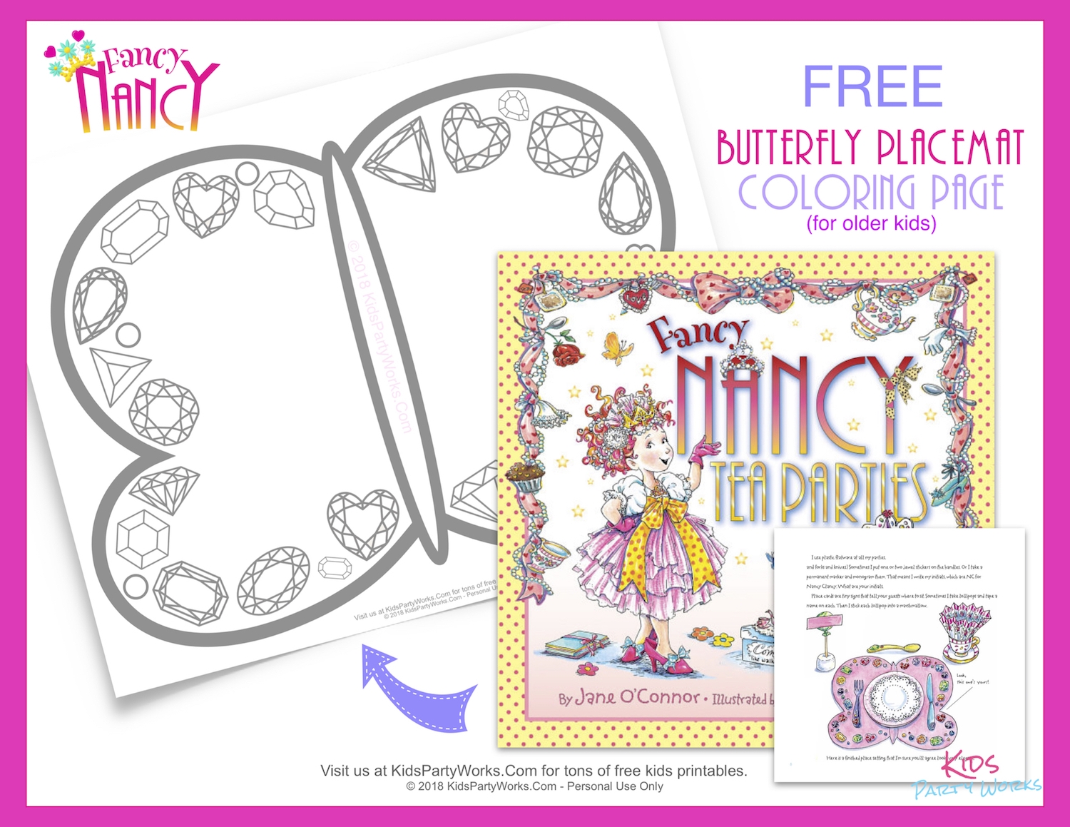 Kids will have fun coloring this Free printable Fancy Nancy Tea Parties butterfly placemat with beautiful gems, just like in the book.