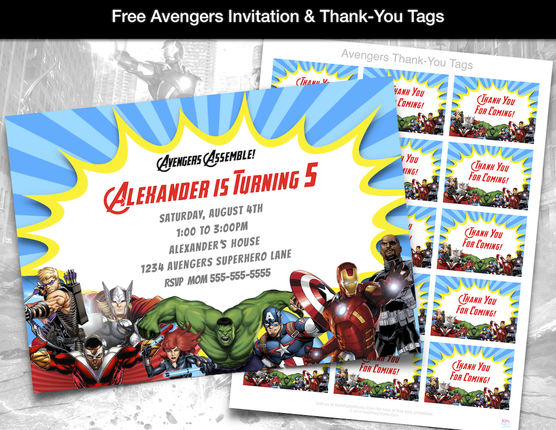 Free Avengers Invitation and thank-you tags. KidsPartyWorks.Com