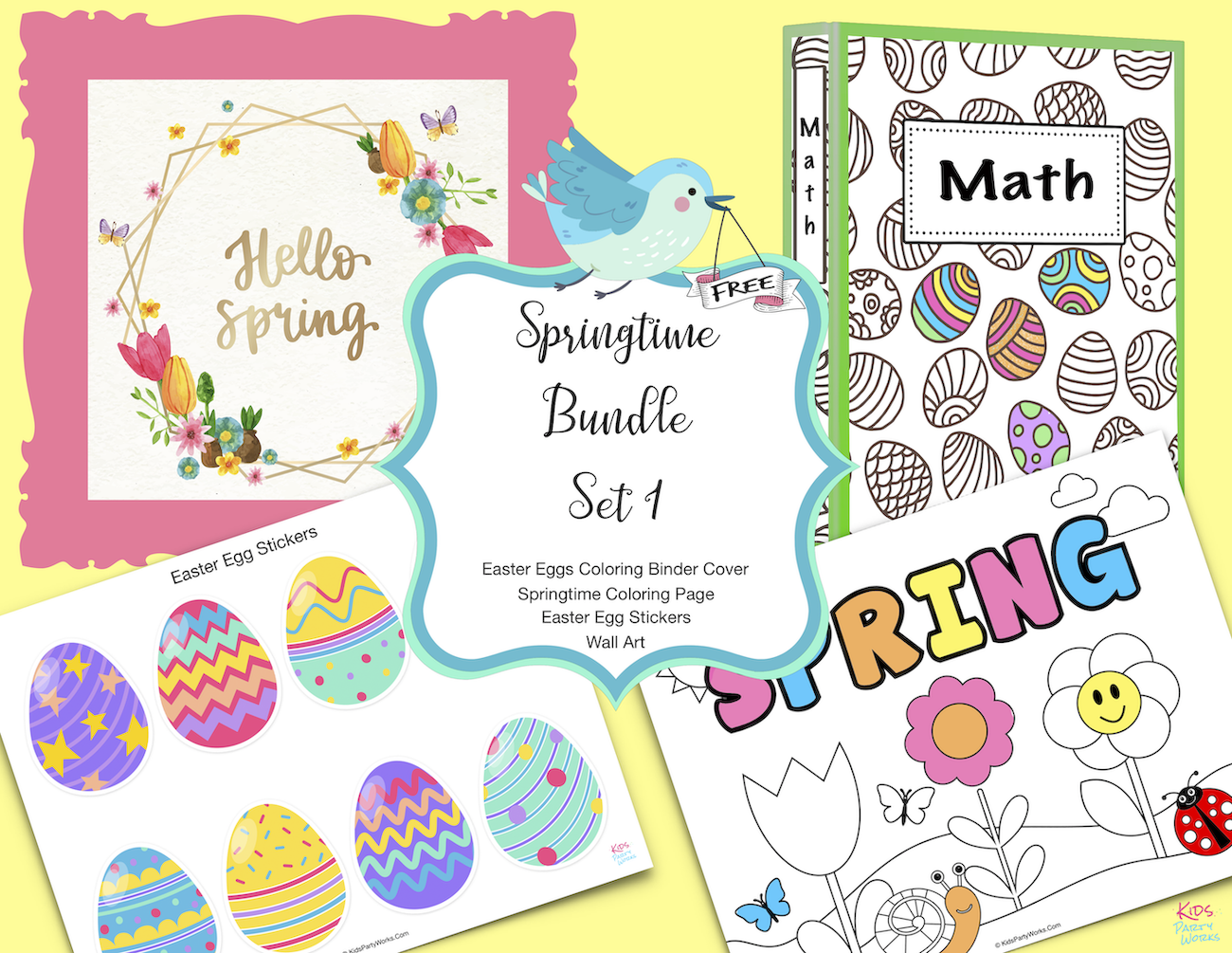 Free Easter Printables for kids from KidsPartyWorks.Com. Come get this free set which includes a Book Binder, Coloring Page, Easter Stickers and Wall Art.