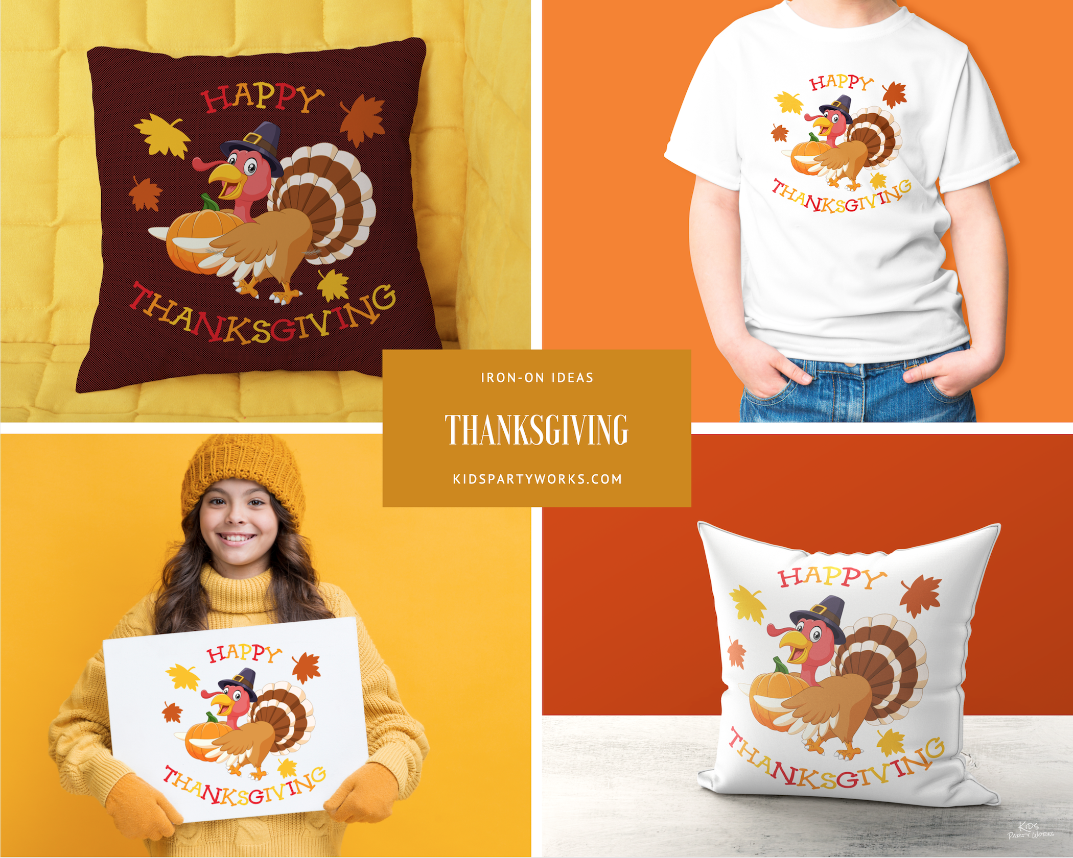 Free thanksgiving t-shirt iron-on at KidsPartyWorks.Com