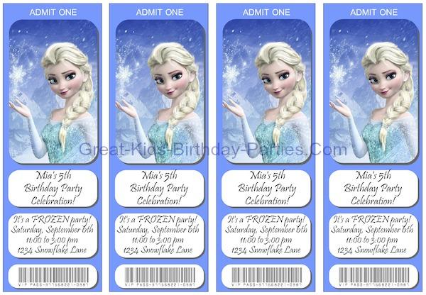 Frozen Invitations - Free printable invitations, ticket invitations.