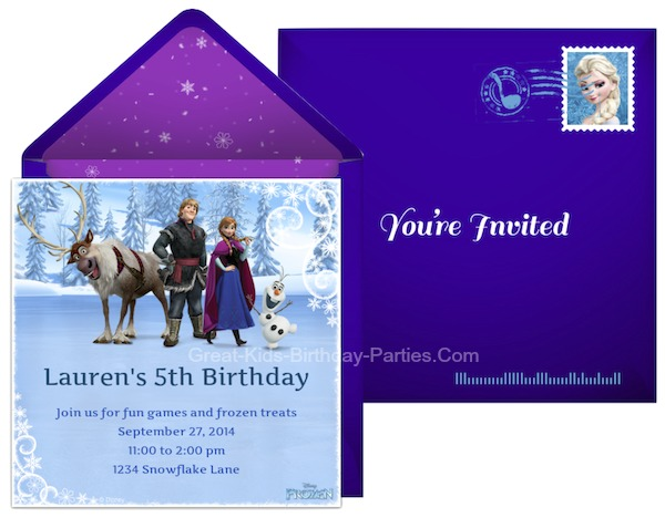 Free Online Frozen Invitations, send via email or social media.