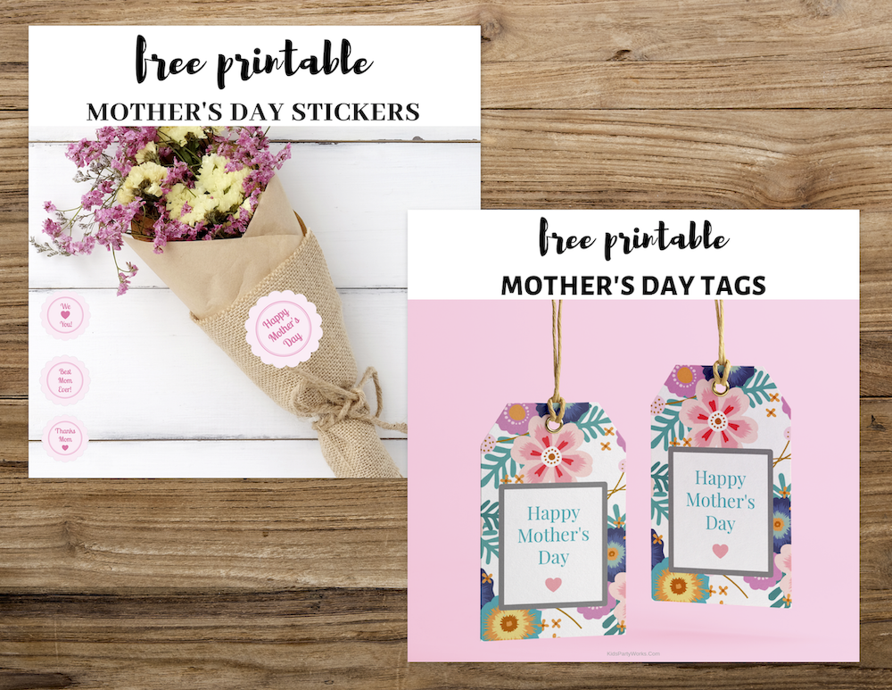 Free Happy Mother's Day Tags. KidsPartyWorks.Com