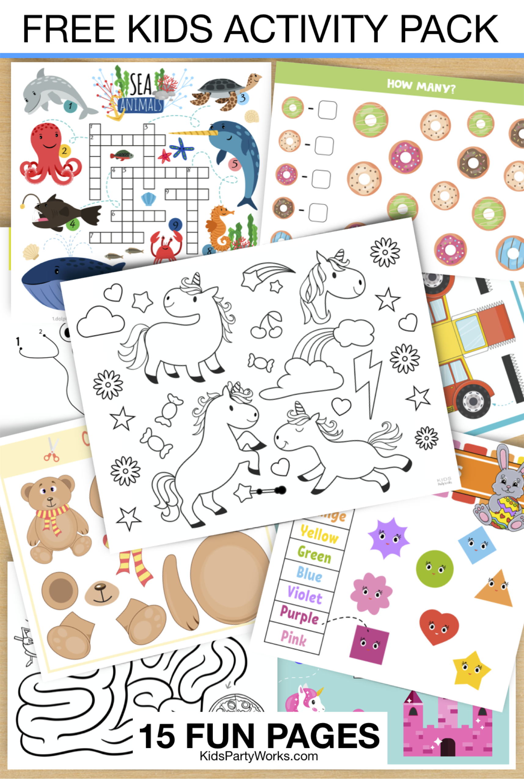 Free Kids Activities Pack by KidsPartyWorks.com