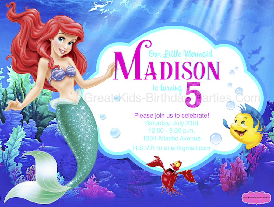 Free Little Mermaid Invitation template from KidsPartyWorks.Com