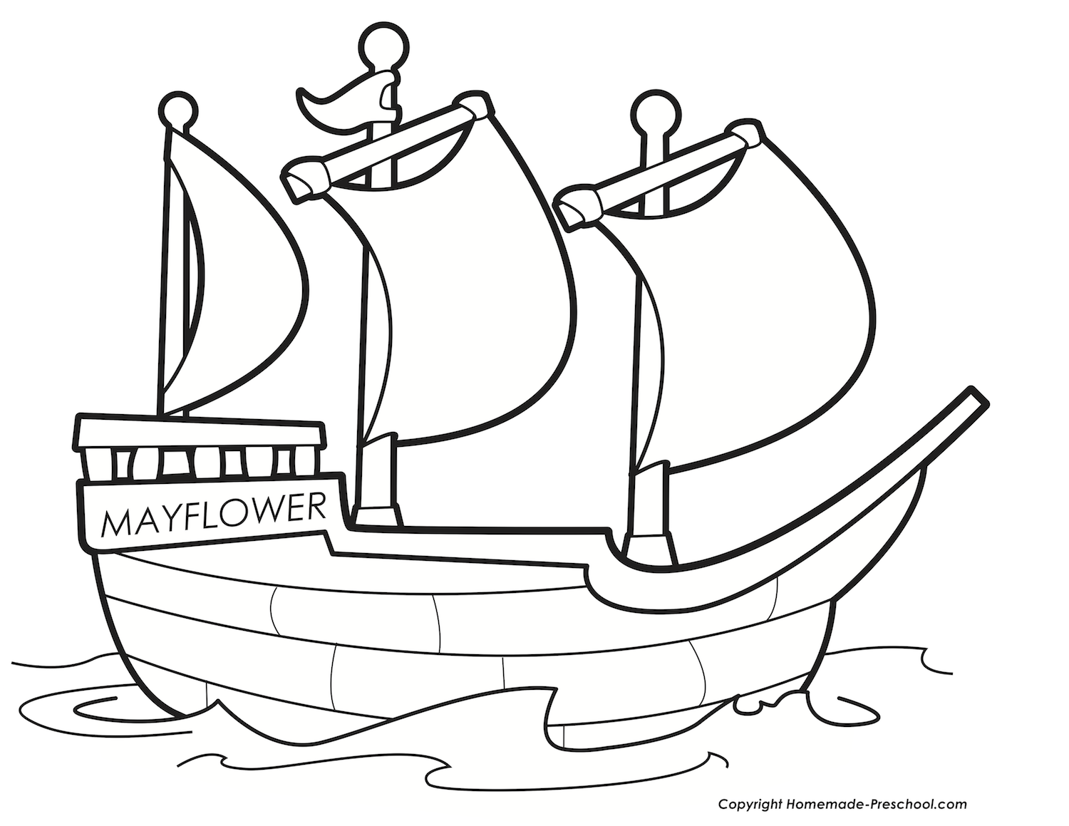 Free Thanksgiving Mayflower Coloring Pages at KidsPartyWorks.Com