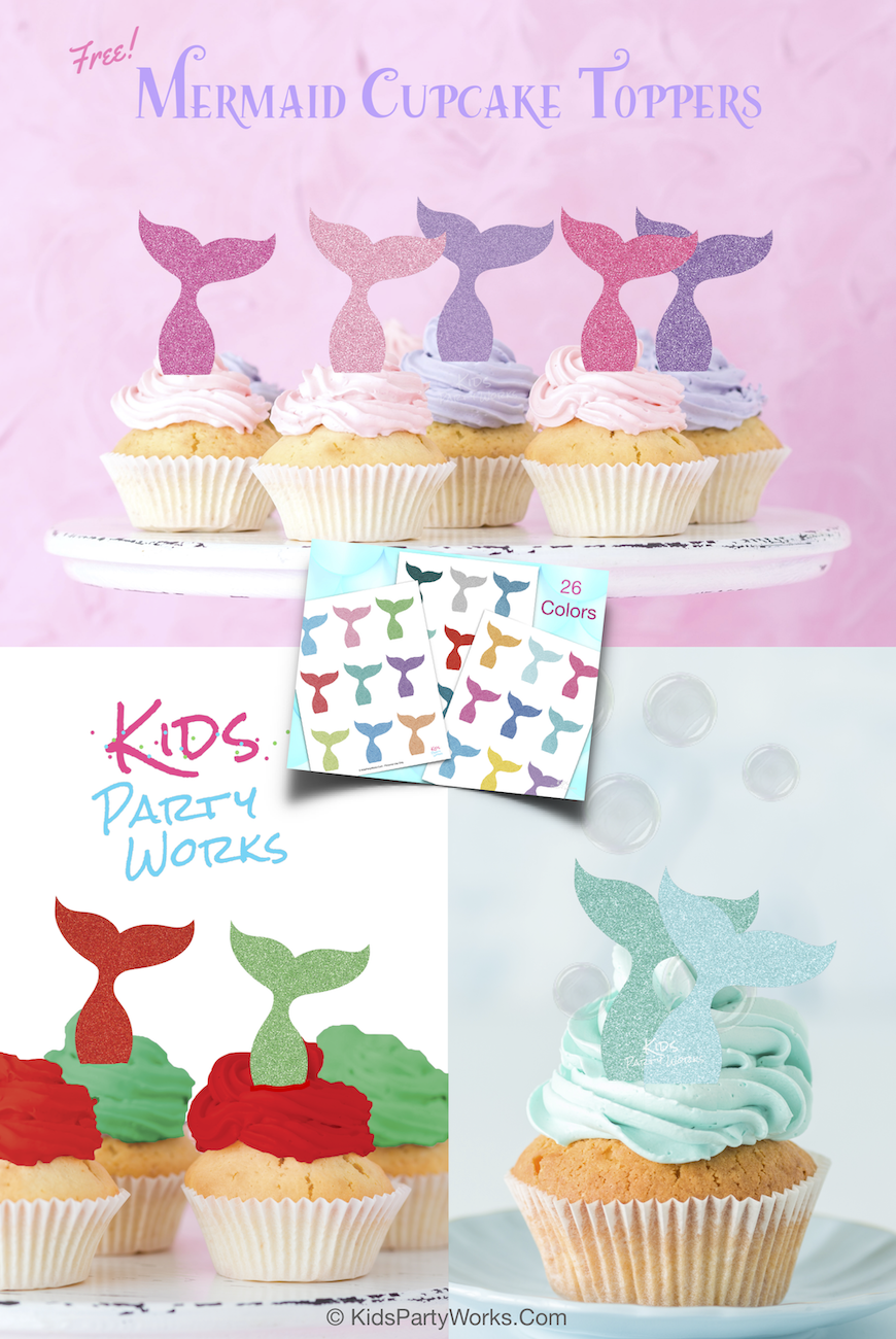 Free Mermaid Cupcake Toppers from KidsPartyWorks.Com. 26 glitter mermaid tail colors, free printable.