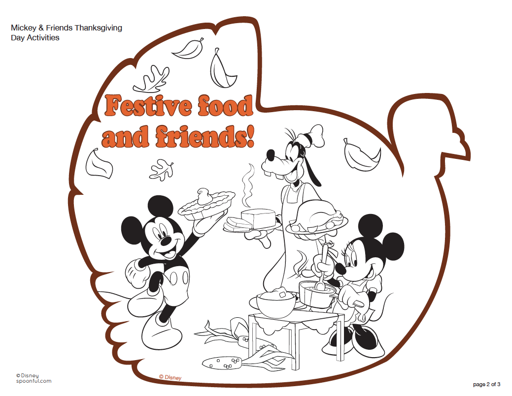 Mickey Thanksgiving printable coloring pages for free.