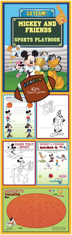 Disney printable, mickey printable, Disney sports printable, printable activity, mickey coloring pages