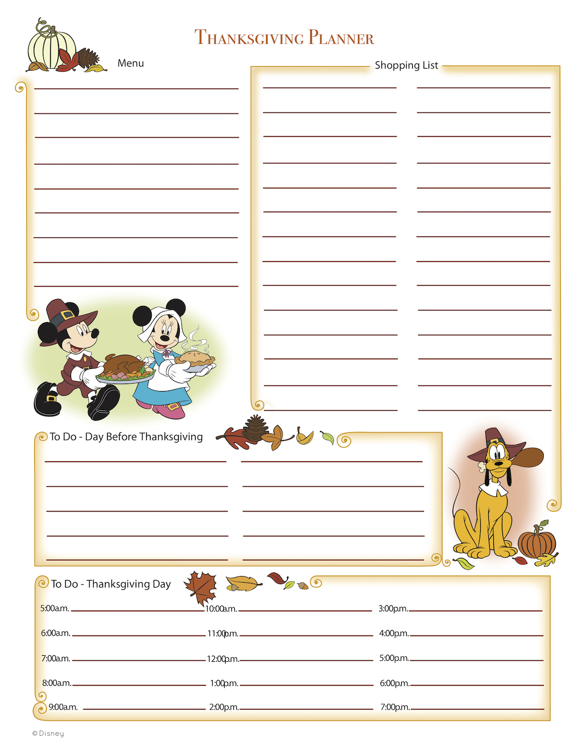 Mickey Thanksgiving Planner at KidsPartyWorks.Com