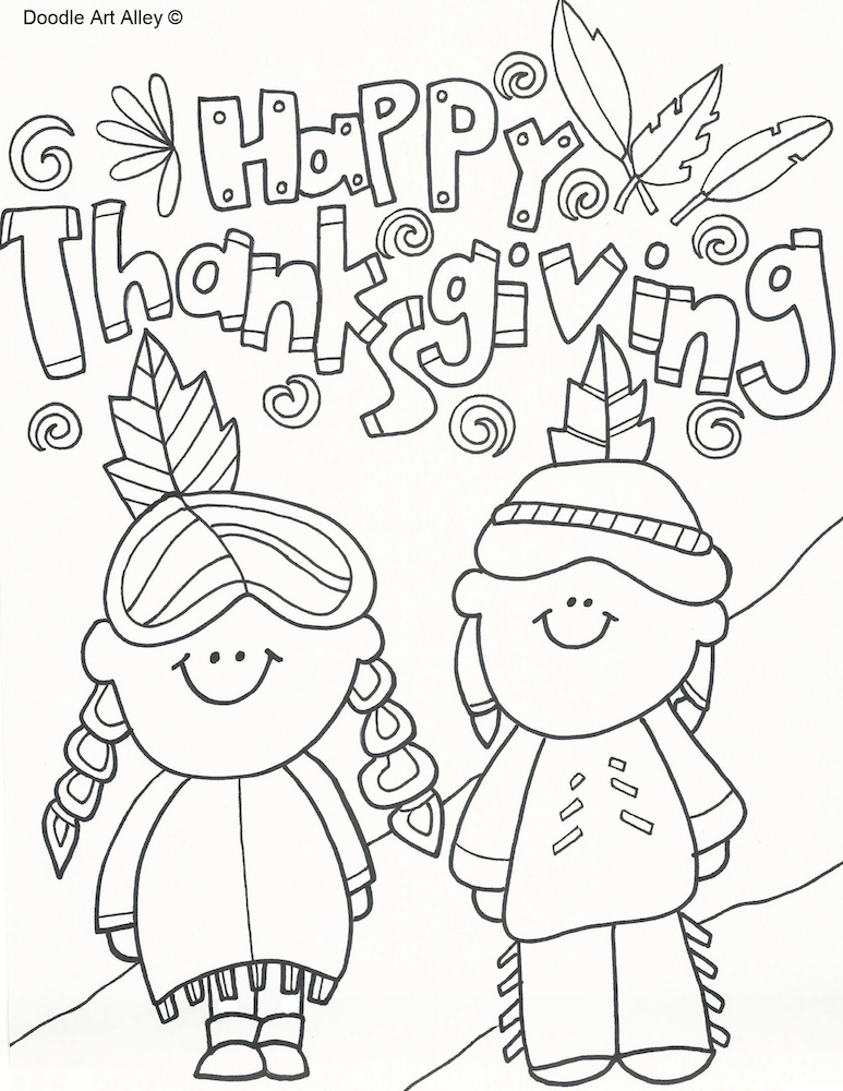 Thanksgiving native Americans coloring page