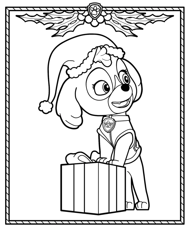 Skye Christmas coloring page