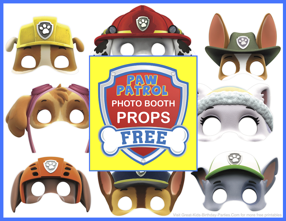 Paw patrol birthday add these fun paw patrol photo booth props to your next pup party kids will have a blast taking posing with these cool free printables from nick jr you filmwisefo