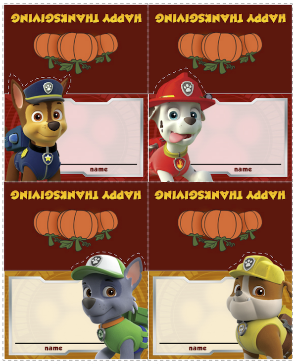 Paw Patrol Thanksgiving Food Labels at KidsPartyWorks.Com