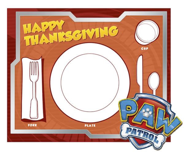 Paw Patrol Thanksgiving placemat